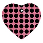 CIRCLES1 BLACK MARBLE & PINK WATERCOLOR Heart Ornament (Two Sides) Front
