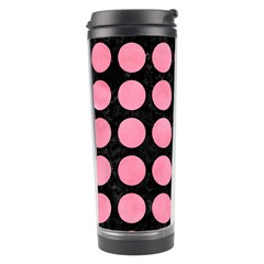 Circles1 Black Marble & Pink Watercolor (r) Travel Tumbler by trendistuff