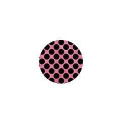 Circles2 Black Marble & Pink Watercolor 1  Mini Buttons by trendistuff