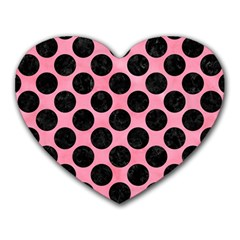 Circles2 Black Marble & Pink Watercolor Heart Mousepads