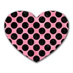 CIRCLES2 BLACK MARBLE & PINK WATERCOLOR Heart Mousepads Front