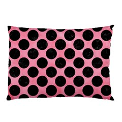 Circles2 Black Marble & Pink Watercolor Pillow Case by trendistuff