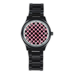 Circles2 Black Marble & Pink Watercolor Stainless Steel Round Watch by trendistuff