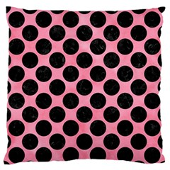 Circles2 Black Marble & Pink Watercolor Large Flano Cushion Case (two Sides) by trendistuff