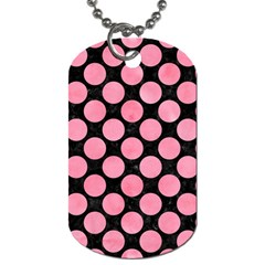 Circles2 Black Marble & Pink Watercolor (r) Dog Tag (two Sides) by trendistuff