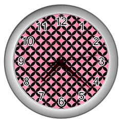 Circles3 Black Marble & Pink Watercolor Wall Clocks (silver)  by trendistuff