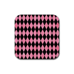 Diamond1 Black Marble & Pink Watercolor Rubber Square Coaster (4 Pack)  by trendistuff