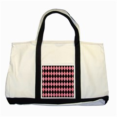 Diamond1 Black Marble & Pink Watercolor Two Tone Tote Bag by trendistuff