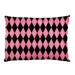 Diamond1 Black Marble & Pink Watercolor Pillow Case by trendistuff