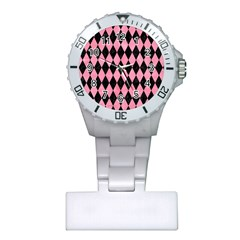 Diamond1 Black Marble & Pink Watercolor Plastic Nurses Watch by trendistuff