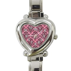 Damask1 Black Marble & Pink Watercolor Heart Italian Charm Watch by trendistuff