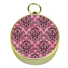 Damask1 Black Marble & Pink Watercolor Gold Compasses by trendistuff