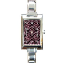 Damask1 Black Marble & Pink Watercolor (r) Rectangle Italian Charm Watch by trendistuff