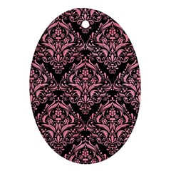 Damask1 Black Marble & Pink Watercolor (r) Ornament (oval)