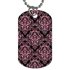 Damask1 Black Marble & Pink Watercolor (r) Dog Tag (one Side)