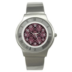 Damask1 Black Marble & Pink Watercolor (r) Stainless Steel Watch by trendistuff
