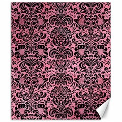 Damask2 Black Marble & Pink Watercolor Canvas 20  X 24   by trendistuff