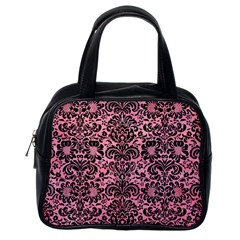 Damask2 Black Marble & Pink Watercolor Classic Handbags (one Side) by trendistuff