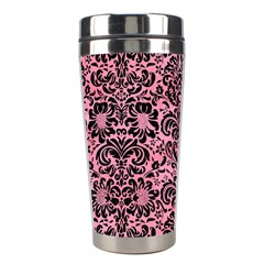 Damask2 Black Marble & Pink Watercolor Stainless Steel Travel Tumblers by trendistuff