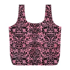 Damask2 Black Marble & Pink Watercolor Full Print Recycle Bags (l)  by trendistuff