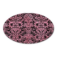 Damask2 Black Marble & Pink Watercolor (r) Oval Magnet by trendistuff
