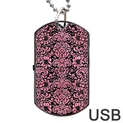 Damask2 Black Marble & Pink Watercolor (r) Dog Tag Usb Flash (one Side) by trendistuff