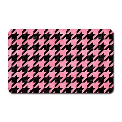 Houndstooth1 Black Marble & Pink Watercolor Magnet (rectangular) by trendistuff