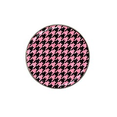 Houndstooth1 Black Marble & Pink Watercolor Hat Clip Ball Marker by trendistuff