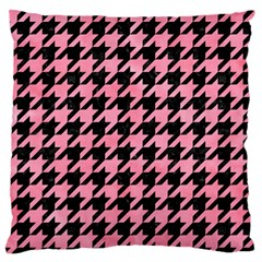 Houndstooth1 Black Marble & Pink Watercolor Large Flano Cushion Case (one Side) by trendistuff