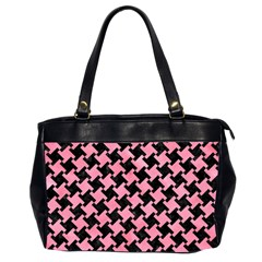Houndstooth2 Black Marble & Pink Watercolor Office Handbags (2 Sides)  by trendistuff
