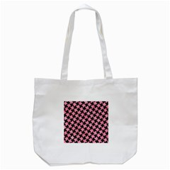 Houndstooth2 Black Marble & Pink Watercolor Tote Bag (white) by trendistuff