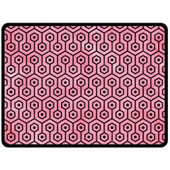 Hexagon1 Black Marble & Pink Watercolor Double Sided Fleece Blanket (large)  by trendistuff