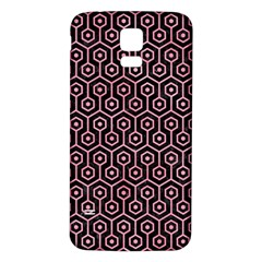Hexagon1 Black Marble & Pink Watercolor (r) Samsung Galaxy S5 Back Case (white) by trendistuff