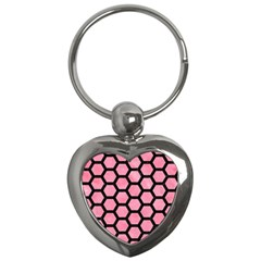 Hexagon2 Black Marble & Pink Watercolor Key Chains (heart)  by trendistuff