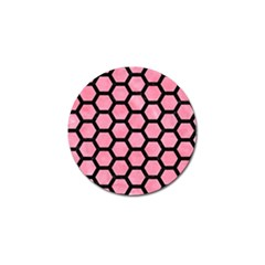 Hexagon2 Black Marble & Pink Watercolor Golf Ball Marker by trendistuff