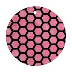 Hexagon2 Black Marble & Pink Watercolor Round Ornament (two Sides) by trendistuff