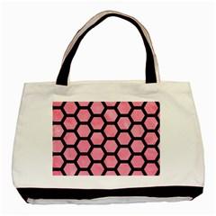 Hexagon2 Black Marble & Pink Watercolor Basic Tote Bag (two Sides) by trendistuff