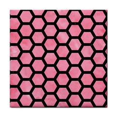 Hexagon2 Black Marble & Pink Watercolor Face Towel by trendistuff