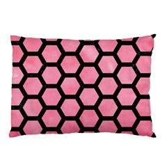 Hexagon2 Black Marble & Pink Watercolor Pillow Case by trendistuff