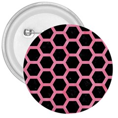 Hexagon2 Black Marble & Pink Watercolor (r) 3  Buttons by trendistuff