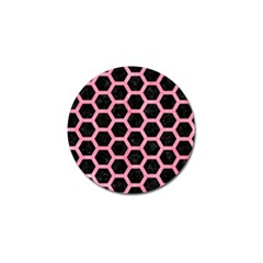 Hexagon2 Black Marble & Pink Watercolor (r) Golf Ball Marker by trendistuff