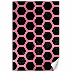 Hexagon2 Black Marble & Pink Watercolor (r) Canvas 20  X 30   by trendistuff