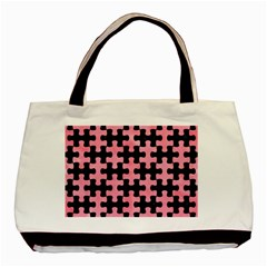 Puzzle1 Black Marble & Pink Watercolor Basic Tote Bag (two Sides) by trendistuff