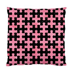 Puzzle1 Black Marble & Pink Watercolor Standard Cushion Case (two Sides) by trendistuff