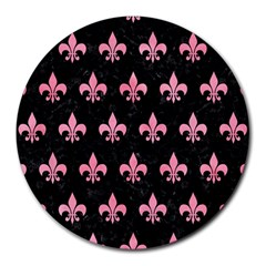 Royal1 Black Marble & Pink Watercolor Round Mousepads by trendistuff