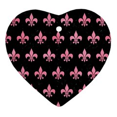 Royal1 Black Marble & Pink Watercolor Ornament (heart) by trendistuff