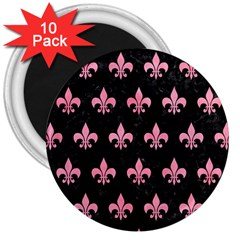 Royal1 Black Marble & Pink Watercolor 3  Magnets (10 Pack)  by trendistuff