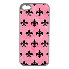 Royal1 Black Marble & Pink Watercolor (r) Apple Iphone 5 Case (silver) by trendistuff