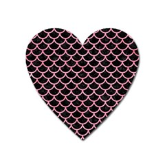 Scales1 Black Marble & Pink Watercolor (r) Heart Magnet by trendistuff