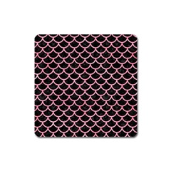 Scales1 Black Marble & Pink Watercolor (r) Square Magnet by trendistuff